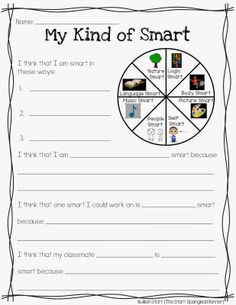 Multiple Intelligences- Modified for Primary Students -Down the post half way or so. A great activity for the end of the year to pass on to next year's teacher! Middle School Counseling, School Counselor, Classroom Community, Learning Styles, Study Skills, Thinking Skills, Getting To Know You, Social Skills, Classroom Management