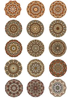 Mandala Round Circle Digital Images Collage Sheet by pixeltwister