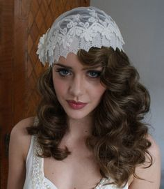 Hey, I found this really awesome Etsy listing at https://www.etsy.com/listing/96975853/juliet-cap-in-ivory-lace-bridal