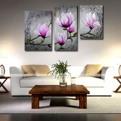 Hand-Painted Oil Painting on Canvas Wall Art Modern Flowers Purple MagnliaThree Panel Ready to Hang 4395536 2016 – £49.69