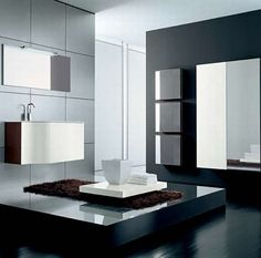 Impressive Gray Home Interiors for Elegant Home: Outstanding Shades Gray Design Ideas Modern Bathroom Design black, white and wood bathroom . Contemporary White Bathrooms, Modern Bathroom Design, Bathroom Interior Design, Bathroom Trends, Budget Bathroom, Bathroom Ideas, Tropical Bathroom, Dream Bathrooms, Black Bathrooms