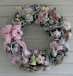 *Shabby Chic Tea Wreath ✿ڿڰۣ.