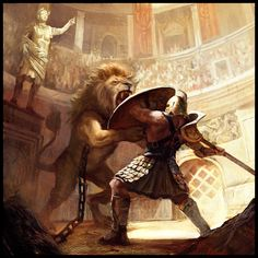 My dream is to travel back in time and befriend a heroic, Roman gladiator (Gladiator VS Lion by ~MiguelCoimbra)