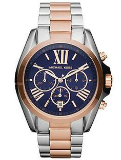 "Michael Kors ""Bradshaw"" watch in Silver/Rose Gold.  Perfect watch for preppy inspired outfits."