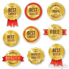 9 Golden quality sale tag vector