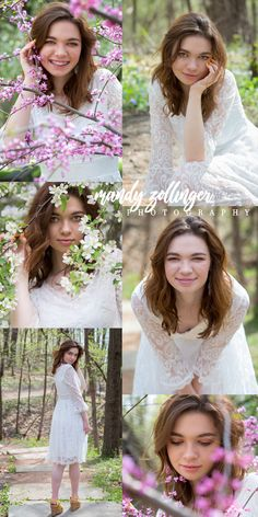 Fun ideas and poses for spring senior pictures when the blossoms come out by Mandy Zollinger Photography.