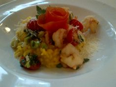 Saffron risotto with grilled prawns, tomatoes and spring onions @ Restaurant Hebenstreit