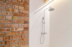 shower design, raw design, brick wall