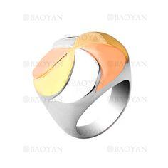 anillo de remolino tres color en acero plateado inoxidable para mujer - SSRGG161957