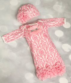 Infant Baby Girl Layette Pink Damask Gown with Chiffon Flowers & Matching Hat Outfit Set Girls Coming Home Outfit, Take Home Outfit, Newborn Girl Outfits, Newborn Baby Girl Clothes, Pink Damask, Baby Gown, Baby Girl Gowns, Baby Layette, Girls Boutique