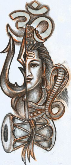 om Tishul and Shiva tattoo