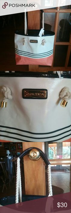 NWT Nautica Bag Gorgeous Ivory, Navy & Coral bag with cotton rope handles covered by the Navy material at the top... by Nautica. New with tag. Pristine Condition inside & out:-) Any questions just ask:-) Nautica Bags Totes