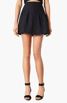 High waisted lightly pleated skirt- would be really cute in a burgundy or navy blue
