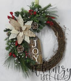 Christmas Wreath for Door-Joy Christmas Wreath-Country Christmas-Front Door Wreath-Rustic Christmas Wreath-Farmhouse Xmas Wreath-Rustic Deco by WhimzyTreeCo on Etsy https://www.etsy.com/listing/571960641/christmas-wreath-for-door-joy-christmas