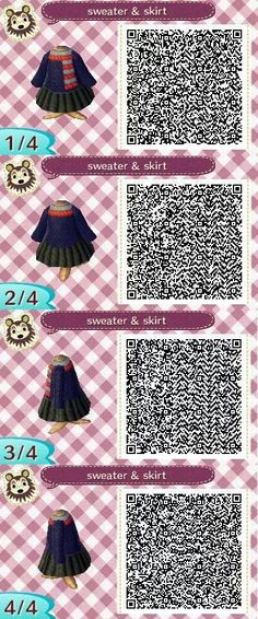 Sweater and skirt QR code for Animal Crossing