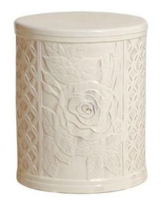 White Rose Ceramic Garden Stool 18h