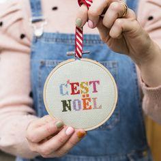 C'est Noel Cross Stitch Kit - White