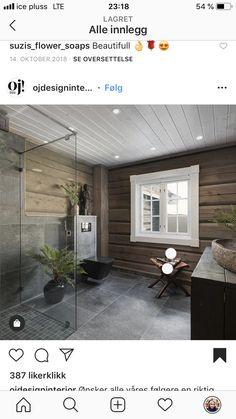 Modern Cabin Interior, Pergola Garden, Rustic Home Design, Log Cabin Homes, Cabin Interiors, Rustic Bathrooms, Cabins In The Woods, Bathroom Interior Design, House Rooms