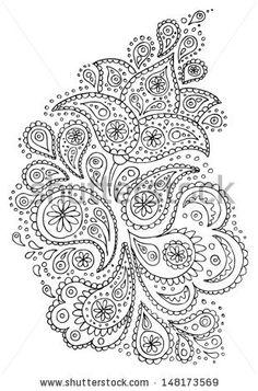 Henna paisley flowers mehndi tattoo hand drawn design. Vector illustration. - stock vector