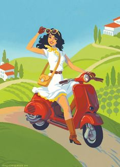 Find information about the world's most iconic scooter brand, Vespa, its latest model lineup, and dealer networks. Since Vespa has been an icon of Italian style loved around the world. Vespa Ape, Vespa Lambretta, Vespa Girl, Scooter Girl, Vintage Posters, Vintage Art, Vintage Vespa, Vespa Motor Scooters, Vespa Illustration