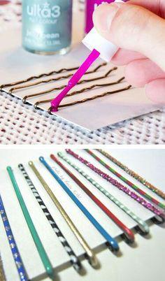 Make your own cut hair pin using nail polish :)