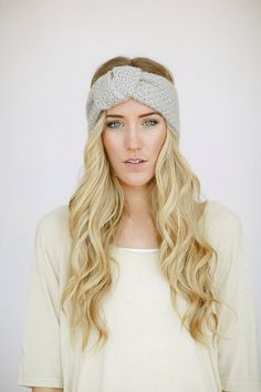 Light Gray Knitted Knotted Mohair Ear Warmer Headband - Knot Just Any Ear Warmer in Light Gray (HB-149)