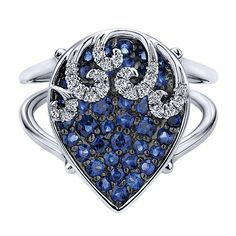 14k White Gold Lusso Color Style  Fashion Ladies' Ring With  Diamond  With  And Sapphire.
