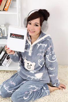 e9a1d9453b Free shipping Mickey Mouse   Cute pig grey color cartoon warm long sleeve women  pajamas sleepwear pyjamas women  24.58