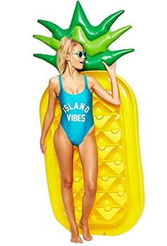 Pineapple FloatieLetsFunny pool floats Inflatable Pineapple Tropical Summer Pool Floats For Adults Kids Outdoor Swimming Pool Large Floatie Lounge Party Toys Fruit Floaty Lounger Float