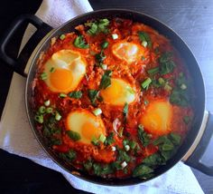 Poached Eggs in Spicy Tomato-Pepper Sauce