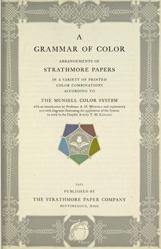 Inside page for A Grammar of Color, published by Strathmore Papers in 1921 about the Munsell Color System.
