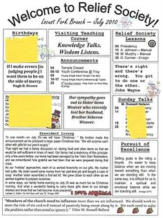 Relief Society Newsletter Ideas