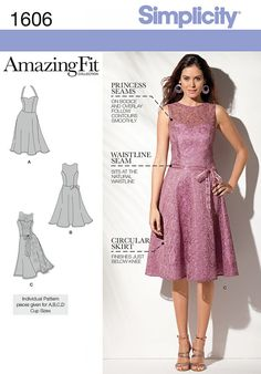 Simplicity 1606 Misses' and Miss Petite Amazing Fit Dress Sewing Pattern