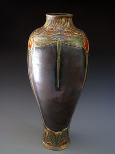 """Stephanie Young - Calm Water Designs - huge 26""""  dragonfly vase with super dramatic black Deco glaze"""