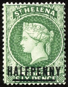 """Helena 1884 Scott 33 on green """"Queen Victoria"""" Colonial, Crown Colony, Green Queen, British Indian Ocean Territory, St Helena, Vintage Stamps, Anglo Saxon, King George, Stamp Collecting"""