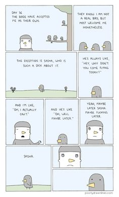 """When asked why his readers are so supportive (the Poorly Drawn Lines comments section is a joy), Farazmand says he's wondered the same himself. """"Poorly Drawn Lines"""" Is Now A Book And It's Just Wonderful Funny Animal Comics, Cute Comics, Funny Comics, Funny Animals, Sad Comics, Funny Cute, The Funny, Hilarious, Poorly Drawn Lines"""