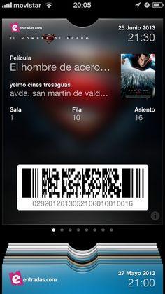 Este es el passbook edición especial El Hombre de Acero !!   Mañana llegará a todos los cines...pero solo con nosotros podrás tener esta entrada siempre en tu móvil
