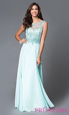 Beaded Aqua Long Sweetheart Dress with Open Back at PromGirl.com