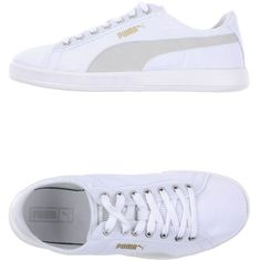 Puma Sneakers ($55) ❤ liked on Polyvore featuring shoes, sneakers, white, round toe flat shoes, white sneakers, white trainers, round toe shoes and puma trainers