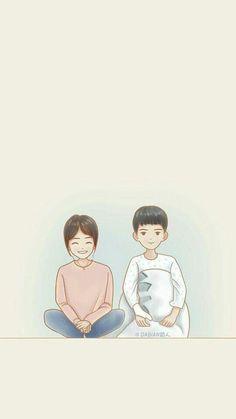 Descendants of the Sun Cute Couple Cartoon, Cute Couple Art, Cute Love Cartoons, Couple Wallpaper, Love Wallpaper, Descendants Of The Sun Wallpaper, Pink Glitter Wallpaper, Goblin Korean Drama, Goblin Art