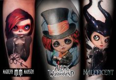 blythe doll tattoo maleficient doll mad hatter doll alice in wonderland marylin manson doll