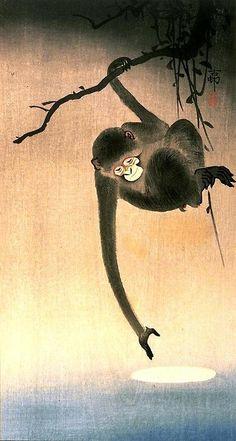 Monkey reaching for the moon, Ohara Koson