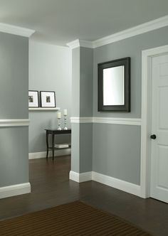 Protect walls from scuffs and dents by installing chair rail moulding in high traffic areas. Gain bonus style points as chair rails easily elevate your home decor. Home Renovation, Home Remodeling, Moldings And Trim, Crown Moldings, Trim For Walls, Wall Trim, Moulding, Chair Rail Molding, Living Room Paint
