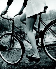 Bicycle + skirt + loafers