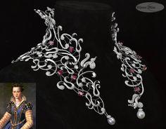 Colar Marie de Médicis com 15 rubis birmaneses, 2 pérolas e 5080 diamantes em ouro branco. Esta peça foi criada por Edéenne, consumiu mais de 4600 horas de trabalho e é peça central da coleção de alta joalheria que comemora os 400 anos da Mellerio