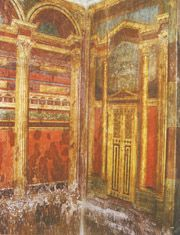 Example of II style painting, from the Villa of the Mysteries