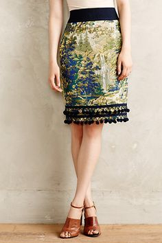 Pommed Pencil Skirt - anthropologie.com - This would be easy with some upholstery fabric.