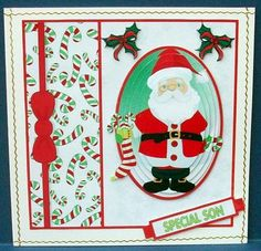 Santa With Candy Canes on Craftsuprint designed by Hilary Hallas - made by Cheryl French - Printed onto glossy photo paper. Attached base image to card stock using ds tape. Built up image with 1mm foam pads. Edged card with gold peel offs. - Now available for download!
