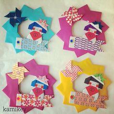 カミキィ 🇯🇵(kamikey)さんはInstagramを利用しています:「I'm making Kintaro wreath for my child relatives 🎏 連休中に会う親戚のおチビちゃん達にあげようとリース作ってます😊気にいってくれるかなー #origami#design…」