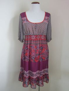 Esprit. Size 8 Red floral polyester casual empire waist dress knee length m wash